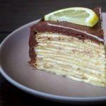 Блинный лимонный торт в глазури