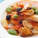 Открытая лазанья с морепродуктами