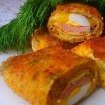 Блинчики с ветчиной, яйцами и сыром